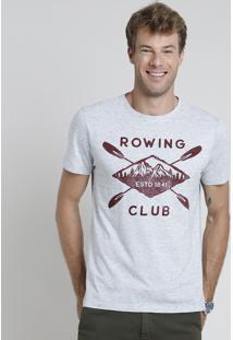 "Camiseta Masculina ""Rowing"" Manga Curta Gola Careca Cinza Mescla Claro"