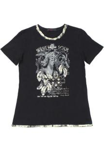 Camiseta Tassa Gold 23121 Feminina - Feminino-Preto