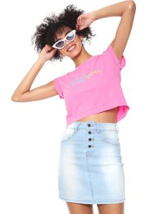 Camiseta Cropped Volcom And On Rosa