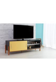 Rack De Tv Preto Moderno Vintage Retrô Com Porta De Correr Amarela Eric - 146X43,6X48,5 Cm