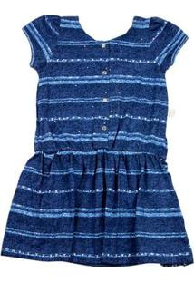 Vestido Infantil Malha Estampada Listrada Strass - Marinho 3