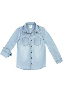 Camisa Jeans Infantil Menino Com Lavação Clara Puc