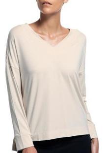 Camiseta Liz Easywear Manga Longa Feminino - Feminino-Areia