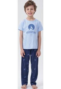 Pijama Manga Curta Infantil Azul