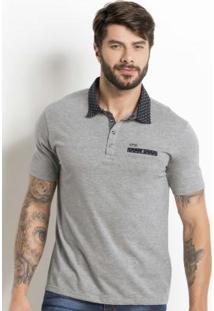 Camisa Polo Cinza Bolso E Gola Com Estampa Poá e263b66312c3d