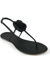 Rasteira Básica Mercedita Shoes Flor Feminina - Feminino-Preto
