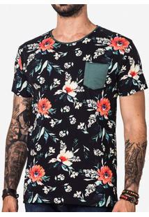 Camiseta Floral Bolso Verde 101434