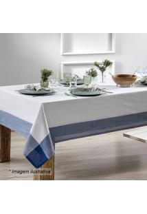 Toalha De Mesa Chamonix- Branca & Azul Escuro- 350X1Sultan