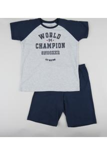 "Pijama Infantil ""World Champion"" Raglan Manga Curta Cinza Mescla"