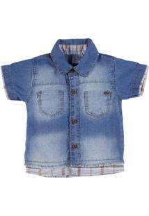Camisa Infantil Jeans Masculino - Masculino-Azul