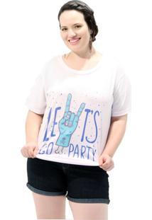 Camiseta Vickttoria Vick Lets Go Party Plus Size
