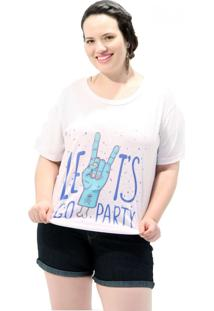 Camiseta Vickttoria Vick Let´S Go Party Plus Size