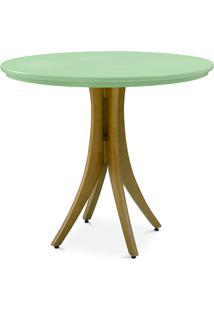 Mesa 4 Cadeiras Redonda Juliette 90X77Cm Amêndoa E Verde Sálvia