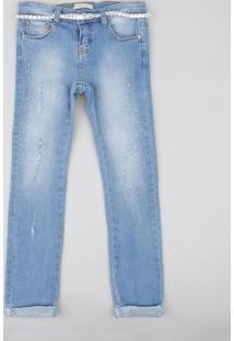 Calça Jeans Infantil Com Strass E Cinto Trançado Azul Claro