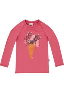 Camiseta Praia Infantil Menina Com Estampa