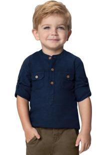 Camisa Azul Marinho Menino Em Algodão