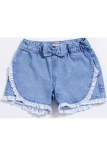 Short Infantil Jeans Laço Laise Marisa