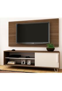 Rack Com Painel Para Tv Até 48 Polegadas Trisson Carvalho E Branco 135 Cm