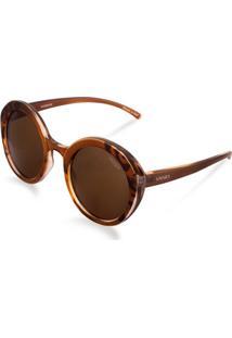 Óculos De Sol Redondo Em Acetato Tigrado Marrom