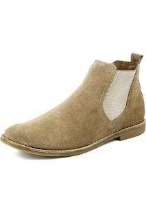 Botina Estilo Urbano Areia Em Couro Atron Shoes