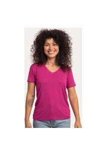 Camiseta Decote V Largo Viscolinho Rosa Oriente