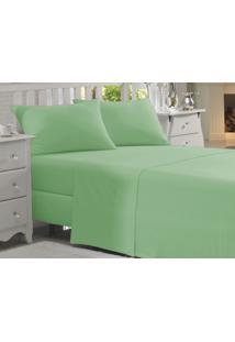 Jogo Cama King Size 4Pçs Verde Percal 150F Fassini Têxtil