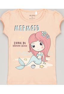 Blusa Infantil Sereia Com Glitter Manga Curta Decote Redondo Coral b65bf106e62
