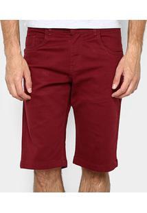 Bermuda Zamany Sarja Color Five Pockets Masculina - Masculino-Bordô