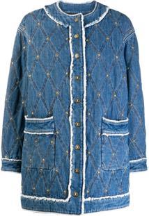 Just Cavalli Jaqueta Jeans Com Desenho Em Pesponto - Azul