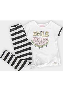 Conjunto Infantil Quimby Blusa Malha Calca Cotton - Feminino