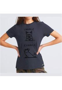 Camiseta Exhale Buddies Feminina - Feminino-Chumbo