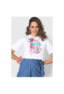Camiseta Cropped Forever 21 Freedom Style Branca