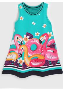 Vestido Kyly Infantil Flamingo Rosa/Verde