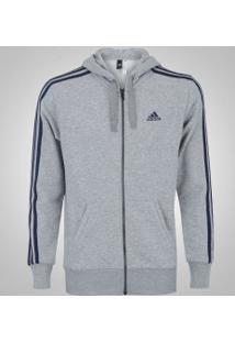 Jaqueta De Moletom Com Capuz Adidas Ess 3S Fz Hood - Masculina - Cinza Claro