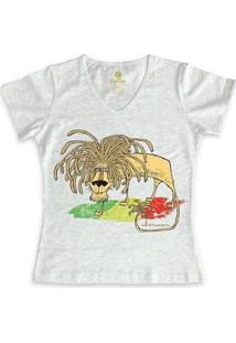 Camiseta Gola V Geek Cool Tees Quadrinhos Leão Jamaica Bob Marley Feminina - Feminino-Mescla Claro