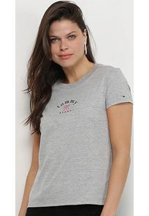 Camiseta Tommy Jeans Tag Feminina - Feminino-Cinza