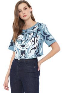 Camiseta Cropped My Favorite Thing(S) Estampada Azul