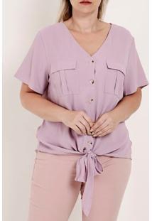 Camisa Manga Curta Com Nó Plus Size Feminina Lilás