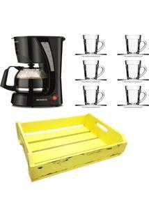 Kit 1 Cafeteira Mondial 110V, 6 XãCaras 90 Ml Com Pires E 1 Bandeja Em Mdf Amarela - Amarelo/Preto - Dafiti
