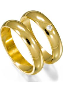 Aliança De Ouro Casamento Abaulada Lisa Com Diamante - As0019 + As0018