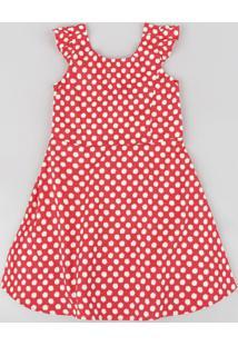 Vestido Infantil Estampado De Margaridas Com Laço Sem Manga Vermelho