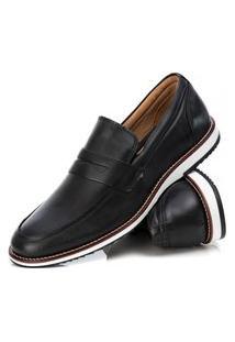 Sapato Loafer Couro Tchwm Shoes Masculino Moderno Brogue Preto 40 Preto
