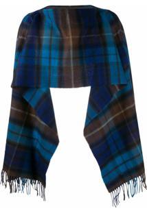 Comme Des Garçons Shirt Cachecol De Lã Com Padronagem Xadrez - Azul