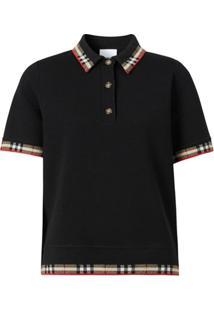 Burberry Camisa Polo Mangas Curtas Com Acabamento Xadrez - Preto