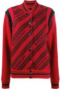 Givenchy Jaqueta Bomber De Lã Com Estampa De Logo - Vermelho