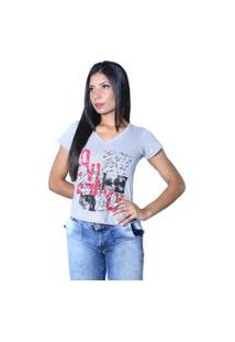 Camiseta Heide Ribeiro Estampada Love Cinza Mescla