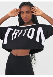 Camiseta Cropped Triton Lettering Preta - Preto - Feminino - Viscose - Dafiti