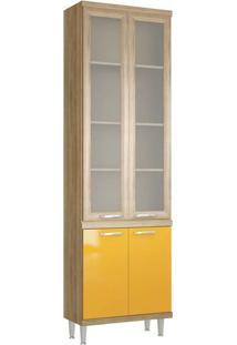Paneleiro Duplo 4 Portas 5121 Com Vidro Na Cor Argila/Amarelo - Multimóveis