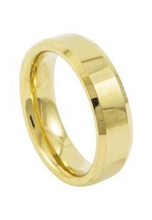 Aliança De Tungstênio New Tungsten 06Mm Chanfrada Gold - Unissex