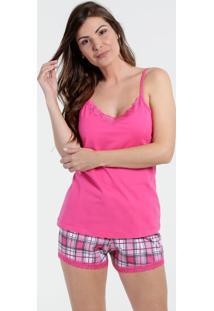 Pijama Feminino Short Doll Renda Xadrez Marisa